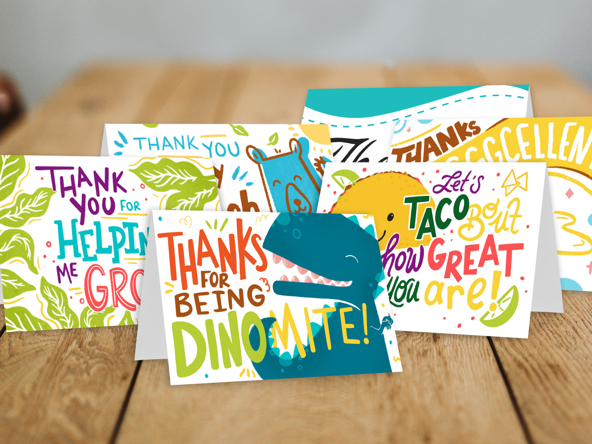 It is an image of Printable Thank You Cards for word