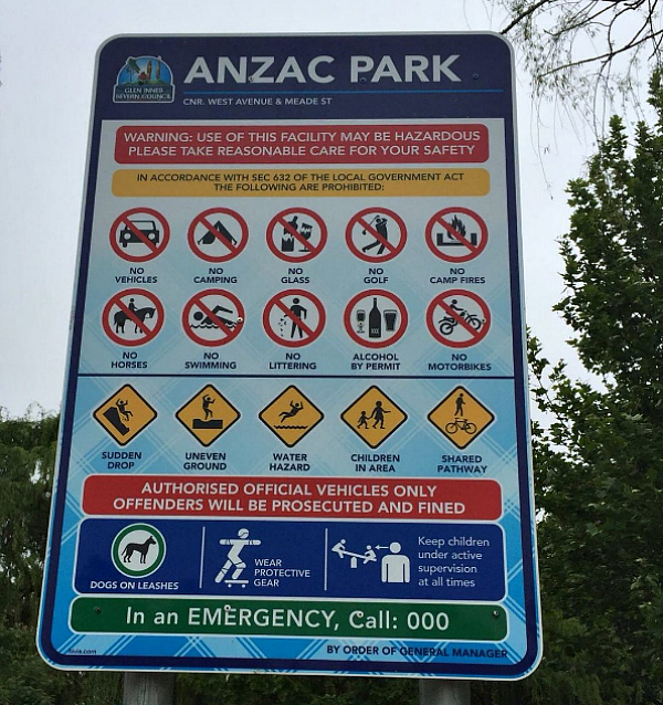Funny signs Anzac Park